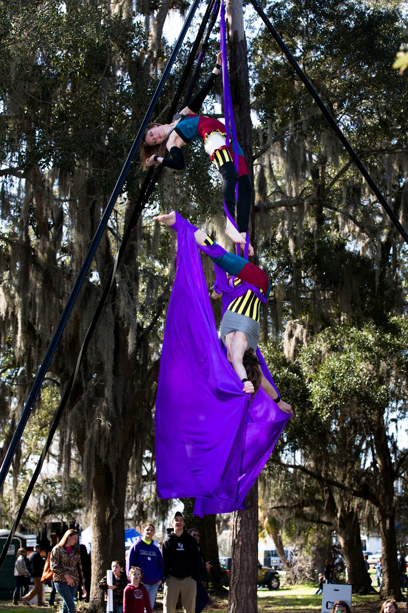 Duo Aerial Silks on a portable outdoor rig